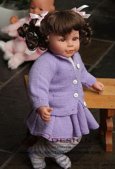 Doll knitting pattern - Beautiful clothes for Lilly in lilac and white