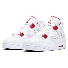 Dr Shoes, Swag Shoes, Nike Air Shoes, Hype Shoes, Jordan Shoes Girls, Air Jordan Shoes, Girls Shoes, Jordan 4, Red And White Jordans