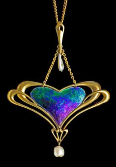 ARCHIBALD KNOX 1864-1933  Liberty & Co Pendant  Gold Enamel Pearl  British, c.1900