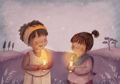 Antonia Woodward Illustration - antonia, woodward, antonia woodward, commercial, trade, picture book, picturebook, novelty, sweet, fiction, traditional, painted, child, person, girls, children, sweet, colour, colourful, candle, star, stars, night, night time, hills, trees,