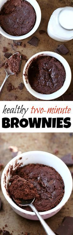 This Healthy Two Minute Brownie is so fudgy, moist, and chocolatey, that you'd never be able to tell it's made with NO flour, NO butter, and NO oil! | http://runningwithspoons.com #vegan #paleo #glutenfree #brownies