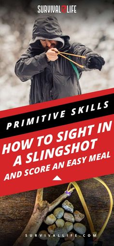 Primitive Skills | How To Sight In A Slingshot And Score An Easy Meal