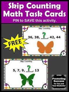 FREE Skip Counting by 2's Task Cards 1st 2nd Grade Math Games and Activities SCOOT