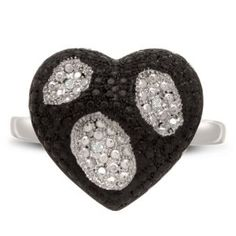 Black And White Diamond Heart Cocktail Ring, Available In Ring Sizes 5-8, Ring Size 7  http://electmejewellery.com/jewelry/rings/statement/black-and-white-diamond-heart-cocktail-ring-available-in-ring-sizes-58-ring-size-7-com/