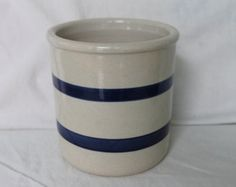 Vintage oatmeal color marked RRP stoneware crock, made in Roseville, OH.,1qt. crock,stripped crock