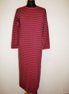 MARIMEKKO Maxi Dress Roundneck Dress Nautical Red Striped Sailor Dress Marine Long Sleeves Cotton Small Size  Measurements (laying flat):  Bust Marimekko Dress, Sailor Dress, Red Stripes, Good Old, Nautical, High Neck Dress, Shirt Dress, Flat, Long Sleeve