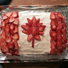 Canadian Flag Cake made with Banana Cake II recipe from Allrecipes. There is a layer of strawberries in the middle too. Strawberries+bananas=awesome flavour combo. Happy Canada Day!  #AllrecipesAllstars #CanadaDay #strawberry #banana