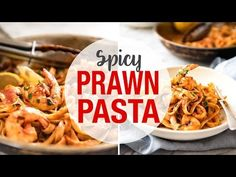 """This Spicy Chilli Prawn Pasta is tossed in a tomato sauce with a secret ingredient that makes this a 15 minute """"wow"""" dinner! Chilli Prawn Pasta, Chilli Garlic Prawns, Spicy Prawns, Tomato Pasta Sauce, Spicy Tomato Sauce, Shrimp Pasta, 15 Minute Dinners, Recipetin Eats, Pasta Noodles"""