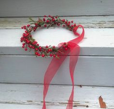 Red hair accessories flower berry vine crown от AmoreBride на Etsy