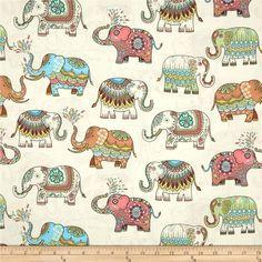 Timeless Treasures Embellished Elephants Cream