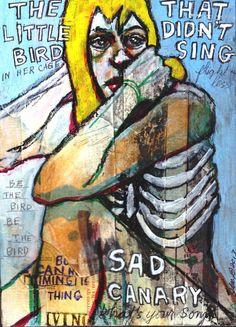 Canary original mixed media art  by Outsider julianacoles.etsy.com