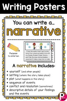 Writing Center Posters and Writing Paper Templates Great posters for any elementary classroom writing center! Help students learn the elements to writing narratives. Comes with writing paper templates! Writing Posters, Writing Words, Writing Lessons, Kids Writing, Teaching Writing, Writing Skills, Essay Writing, Writing Paper, Writing Rubrics