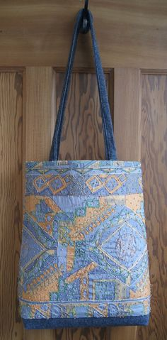 Embroidered Silk Tote Bag by RagRiches on Etsy