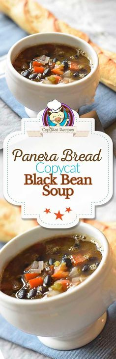 You can recreate your favorite Panera Bread Black Bean soup with this copycat recipe. This vegetarian soup recipe is perfect for a filling meal. - March 23 2019 at Panera Bread, Hearty Vegetarian Soup, Vegetarian Recipes, Cooking Recipes, Vegan Meals, Vegetarian Cookbook, Vegan Soups, Black Bean Soup, Black Beans