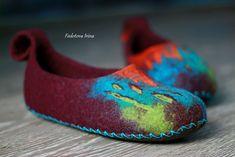 """Обувь ручной работы. Тапочки валяные """"Тибет"""". Ирина Федотова. Интернет-магазин Ярмарка Мастеров. Зеленый, бордо, обувь для отдыха"""