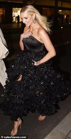 Glossier Pink, Ashlee Simpson, Strapless Dress Formal, Formal Dresses, Black Ruffle, Cannes Film Festival, American Women, Catwalk, Night Out