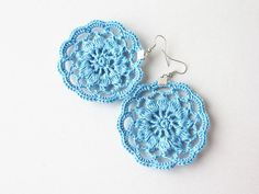Blue decor Crochet flower appliques for gift wrapping by boorashka on Etsy