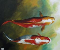 Original Painting by CES  Swimming Koi Fish Pond by PaintingsbyCES, $265.00