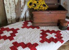 Antique c1900 Red & White Album Crib or Table QUILT Great Primitive Decorating