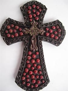 Old World Tuscan Cross Bronze Red Hanging Wall Plaque Home Decor | eBay