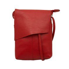 Leather Rawhide Flap Crossbody Bag - Red