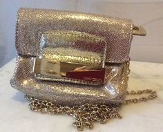Jimmy Choo Caro Champagne Glitter Gold Clutch Chain Strap Small Bag $247.0