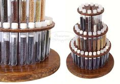 spinning bead organizer / bead storage / test tube stand / design by blog.sowiarnia.pl
