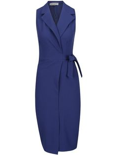Modré překládané pouzdrové šaty Closet