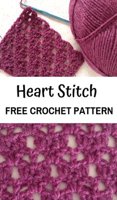 Learn how to crochet an easy crochet lace stitch the heart stitch crochet crochetaddict crocheting crochetpattern freecrochetpatterns crochetlove Stitch Crochet, Crochet Motifs, Crochet Stitches Patterns, Knitting Stitches, Round Loom Knitting, Crotchet Stitches, Crochet Stitches For Blankets, Crochet Squares Afghan, Doilies Crochet