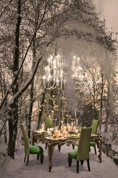 winter feast under the stars dinner setting outdoor spaces My Life in the Countryside Outdoor Dinner Parties, Party Outdoor, Outdoor Dining, Outdoor Decor, Outdoor Life, Outdoor Spaces, Decoration Table, Winter Wonderland, Countryside