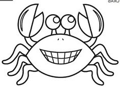 Free printable crab coloring page and a colored crab picture to use for various animal and ocean-themed crafts and learning activities. Coloring Books, Coloring Pages, Ocean Theme Crafts, Fish Template, Window Art, Sea Creatures, Stencils, Art For Kids, Arts And Crafts
