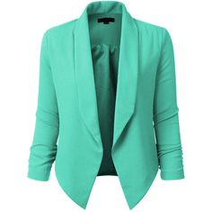 Womens Textured 3/4 Sleeve Open Blazer Jacket (1,450 PHP) ❤ liked on Polyvore featuring outerwear, jackets, blazers, shirts, textured blazer, three quarter sleeve jacket, stretch blazer, 3/4 sleeve jacket and draped jacket
