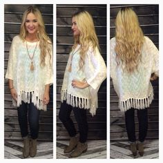 Every girl needs at least one poncho to their name they adore, so don't let this one slip away! Our Snow Angel Poncho has fringe detail at the bottom, and is a gorgeous shade of ivory. Ivory is such a classic & beautiful color for fall that will never go out of style! Throw this on with leggings or skinnies & you have the perfect fall outfit! Take yours home today for $45!