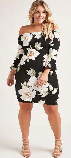 Plus size floral mini dress damenmode online shop, plus size outfits, curvy Look Plus Size, Curvy Plus Size, Plus Size Model, Curvy Girl Fashion, Look Fashion, Trendy Fashion, Womens Fashion, Trendy Style, Affordable Fashion