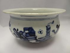 Chinese Blue and White Porcelain Bowl Kangxi Period 1662 - 1722 | From a unique collection of antique and modern porcelain at https://www.1stdibs.com/furniture/dining-entertaining/porcelain/