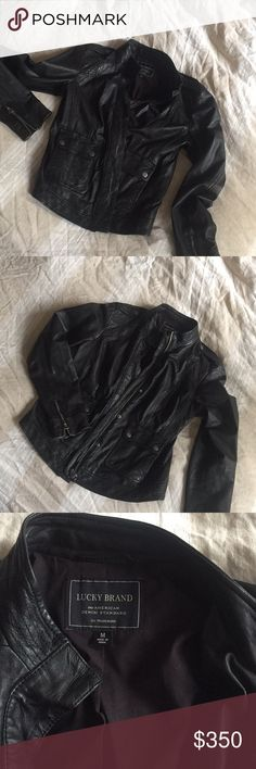 Lucky brand black leather jacket 😎😎😎 Black leather jacket by lucky 🍀 brand . Like new only worn once 🌹🌹🌹🌹 Lucky Brand Jackets & Coats Capes