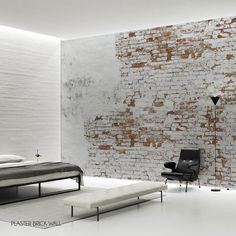 Create your own industrial wall in no time with this Plaster Brick Wall Wallpaper Mural by Behangfabriek, featuring small bricks behind white remainders of old plaster. Specially designed to add a touch of individuality to your home. Brick Wall Decor, Old Brick Wall, White Brick Walls, Faux Brick, Old Wall, Exposed Brick, Brick Interior, Interior Walls, Brick Wall Wallpaper