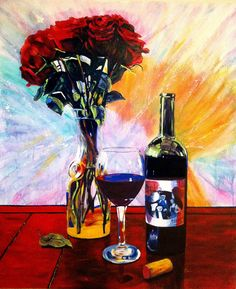 """Wine and Roses - 60"""" x 72"""" acrylic on canvas by Steve Gamba"""