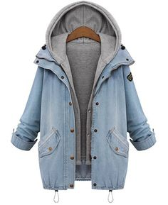 Casual Straight Thick Denim Jacket+Sleeveless Hooded Waistcoat Twinset For Women