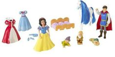 Disney Snow White Deluxe Story Bag by Mattel. $28.99. From the Manufacturer                Disney Princess SNOW WHITE AND THE SEVEN DWARFS FAVORITE MOMENTS Deluxe Gift Set Characters on cue, accessories in place, and her imagination set free to play out the wonderful fairytale again and again! Complete playset includes Snow White doll in signature gown and two extra fashions, three dwarf dolls, handsome Prince doll, white horse and bed! All together in a zippered vinyl bag that i...