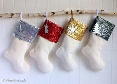 Set of 4 Christmas Stockings Sequin Stockings by KDHomeEyeCandy