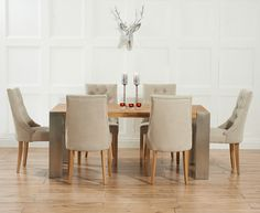 Mark Harris Soho Solid Oak and Metal Extending Dining Table with 6 Pailin Beige Chairs
