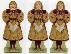 Double Sided Paper Doll with Rotating Head C 1895 Coats Thread Premium | eBay