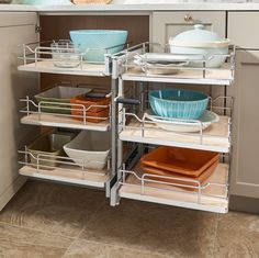 """Three-Tier Solid Bottom Pull Slide Pull Cabinet Organizer for 15"""" Opening"""