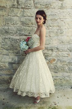 1950s Tea Length Wedding Dress / Vintage Antique Ivory Lace,This would be my wedding dress if I renewed my vows. LOVE!