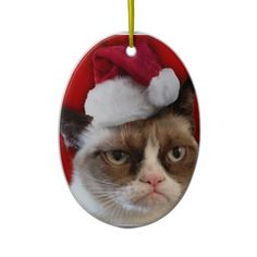 Official #GrumpyCat™ Christmas oval #ornament.  #ChristmasGifts. Material: ceramic. Diameter: 3.32 in x 2.87 in. Price: $15.95
