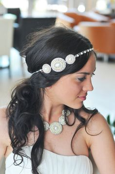 Vintage beaded headband-handmade and unique-wedding headband or prom handband