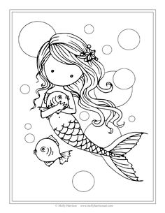 Free Mermaid with Fish Coloring Page by Molly Harrison Fantasy Art