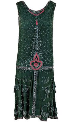 518df91f6501 Green-Gray Beaded Deco Crepe-Chiffon Tiered Flapper Dress c.1920 s -  Timeless