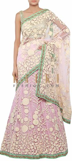 Buy Online from the link below. We ship worldwide (Free Shipping over US$100) http://www.kalkifashion.com/lehenga-saree-in-pink-enhanced-in-thread-embroidery-only-on-kalki.html
